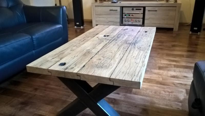 Oud Eiken Wagonplanken Salontafel ✅ Maatwerk Meubels ✅ Kies je eigen planken in onze showroom ✅ Ook losse verkoop planken!